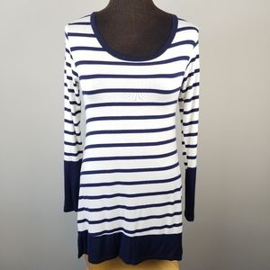 Navy and Ivory striped long sleeved top